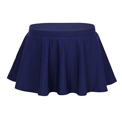 TiaoBug Mädchen Baderock mit integrierter Innenslip Rüschen Bikini Tankini Unterteil Slip Panty mit Gefaltet Röckchen Marineblau 104-110