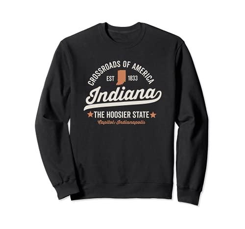 Indiana diseño deportivo vintage Hoosier State USA Love Dark Sudadera