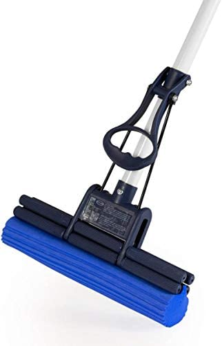 CleanAid OneTouch Easy Floor Mop - Floor Sponge Mop with Telescopic Handle, Inbuilt Wringer and Highly-Absorbent PVA Sponge - Floor Cleaning Mop for Kitchen, Bathroom and Around The Home