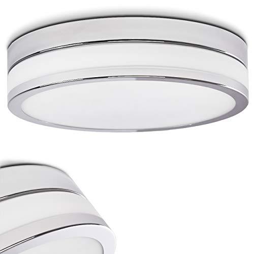 LED Deckenleuchte Wing, runde Deckenlampe aus Metall/Glas in Chrom/Weiß-matt, Ø 30 cm, 1-flammig, 18 Watt, 1600 Lumen insgesamt, 3000 Kelvin (warmweiß)