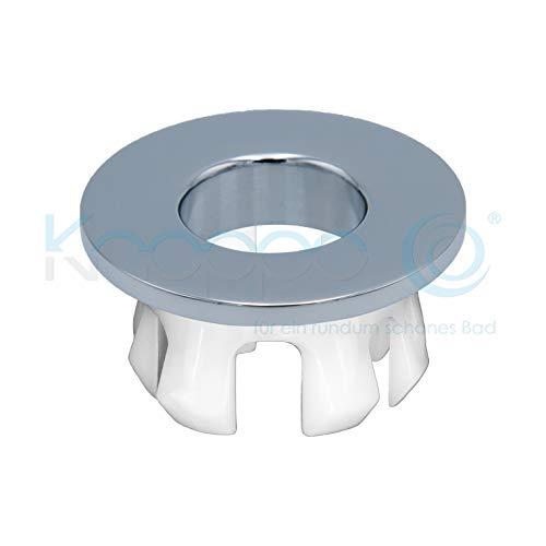 KNOPPO® Waschbecken Messing Überlauf Abdeckung, Metall Design Überlaufblende - Eye Chrom (in 6 verschiedenen Trendfarben)