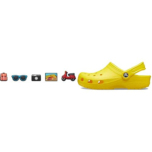 Crocs Classic Zuecos, Unisex Adulto, Amarillo (Lemon), 42/43 EU + Jibbitz 5 Pack Encantos para Zapatos, Personalizar con Jibbitz, Unisex Adulto, Viaje por Carretera, Talla única
