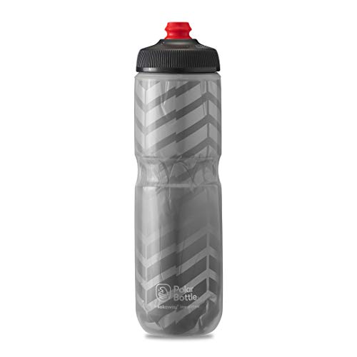 Polar Bottle Breakaway Insulated Bike Water Bottle - BPA Free, Cycling & Sports Squeeze Bottle (Bolt - Charcoal & Silver, 24 oz)