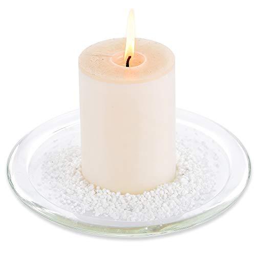 NUPTIO Runder Klarer Glaspfosten-Kerzenhalter-großer Standplatz Für Hochzeits-Mittelstücke, Frucht-Behälter, Imbiss-Teller 17.5cm Im Durchmesser Für Esszimmer