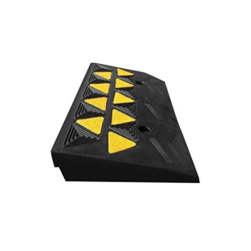 XUZgag 8 cm Hohe Gummi Dreieck Pad, Hotel Supermarkt Tragbare Service Rampen Spannungsfestigkeit Durable Rollstuhl Rasenmäher Bergauf Pad rutschfest (Color : Black, Size : 50 * 28 * 7.7CM)