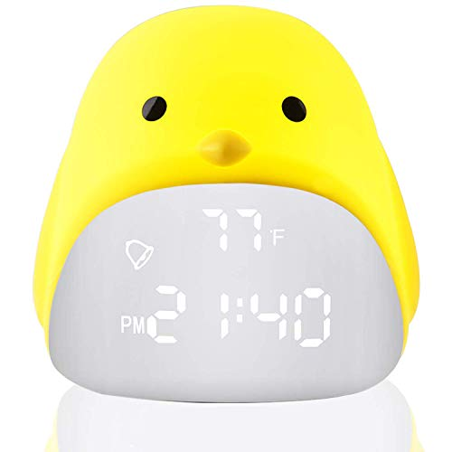 XWWS Kids Alarm Clock-Chick Digital Alarm Clock- Silicone LED Touch Night Light USB Rechargeable, Date Temperature Display, Snooze and Memory Function