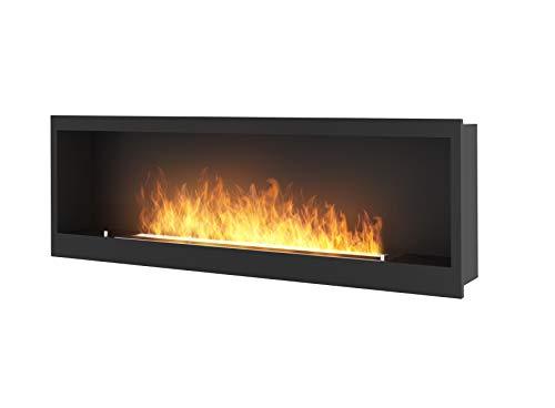 Chimenea de bioetanol de diseño para empotrar en la pared con cristal protector incluido, marco negro semimate de acero inoxidable, quemador de 3 litros (INSIDE1500)