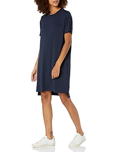 Amazon Brand - Daily Ritual Women's Jersey Short-Sleeve Crewneck Boxy Pocket T-Shirt Dress, Navy, XX-Large