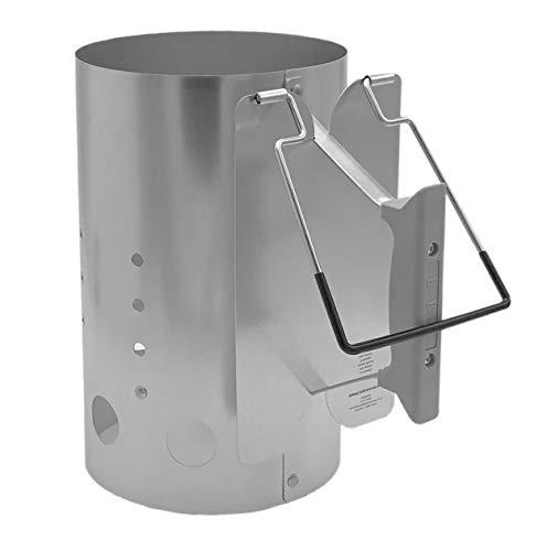 XXL Grillkohleanzünder   Extra Groß   Höhe: ca. 30,5 cm / Ø ca. 19 cm   Ausschütthilfe   Hitzeschild   Grillstarter - Anzündkamin - Grillanzünder