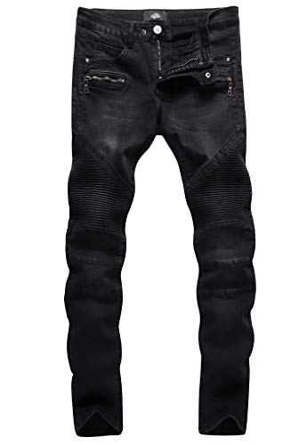 ZLZ Slim Fit Biker Jeans, Men's Super Comfy Stretch Skinny Biker Denim Jeans Pants (32, Black)