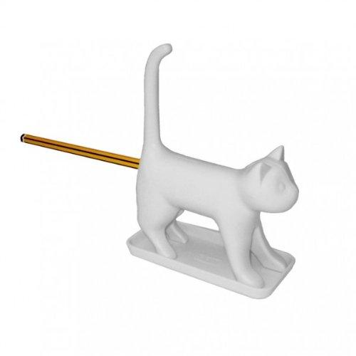 Anspitzer mit Katzen-Motiv, Weiß