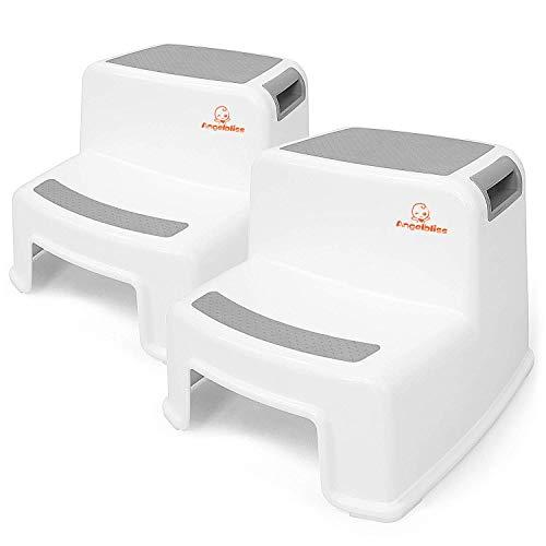 Angelbliss Taburete con doble escalón para niños, taburete para niños pequeños para niños en la cama, baño(Gris Conjunto de dos piezas)