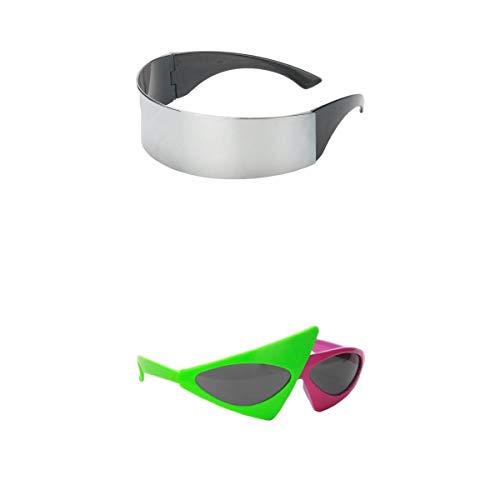 Harilla 2 Piezas Gafas de Sol Divertidas Gafas de Fiesta Soporte para Fotos Futurista Plata Rosa Verde