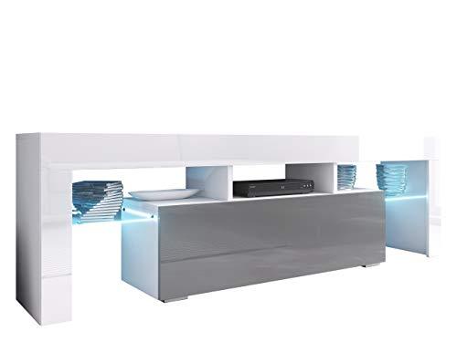 Mirjan24 TV Board Lowboard Toro 138, TV Lowboard mit Grifflose Öffnen, Unterschrank, Sideboard Mediaboard, Fernsehschrank, Mediaboard (mit Blauer LED Beleuchtung, Weiß/Grau Hochglanz/Weiß Hochglanz)