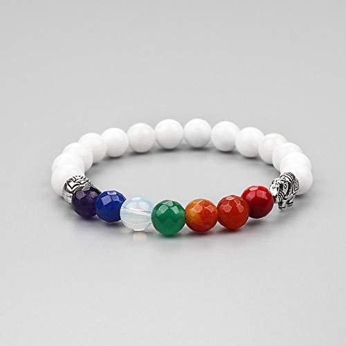 KKMAOMAO Chakra Natural Bracelet,Handmade Jewelry 7 Colorful Chakra Natural White Stone Elephant Beads Yoga Bangle Bracelet For Women