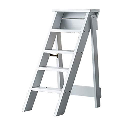 ZRXJQ-Klappstufen Holz-Faltleitern Hocker, 5-stufig, tragbare Stehleiter/Treppenstühle Multifunktions-Kletterhocker Leiter-Regal für Küchenbüro oder Bibliothek - 3 Farben