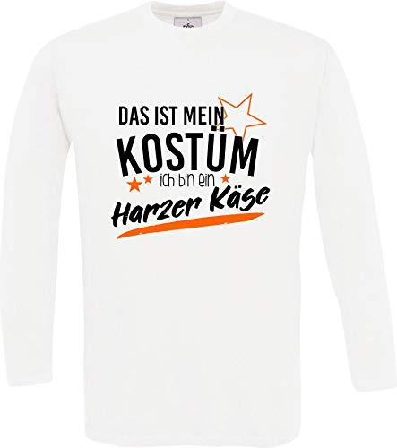Shirtinstyle Longsleeve Karneval Verkleidet als Harzer Käse Fasching Karneval Verkleidung, Farbe Weiss Größe XXL