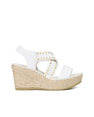 Vidorreta - Sandalia Cuña Plataforma Esparto Piel Napa Blanca Adorno Tachas Elásticos para: Mujer Color: Blanco Talla: 35
