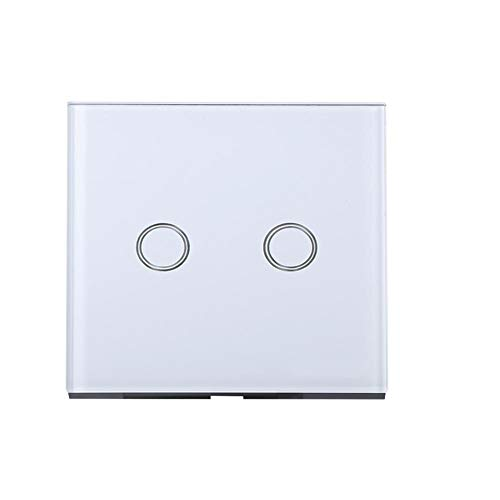 Richer-R Interruptor Táctil,Interruptor de Pared Inteligente,Smart Switch Interruptor de Luz con Panel de Cidrio Templado para Hogar,Oficina,Hotel,etc.(Material a Prueba de Fuego)(2 Gang Blanco)