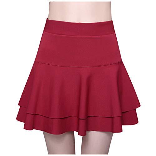Hffan Fashion Damen Mädchen Basic Solid Dehnbaren Skater Mini Rock mit Shorts