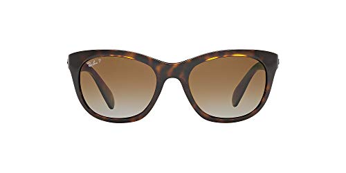Ray-Ban Women's RB4216 Square Sunglasses, Light Havana/Polarized Brown Gradient, 56 mm