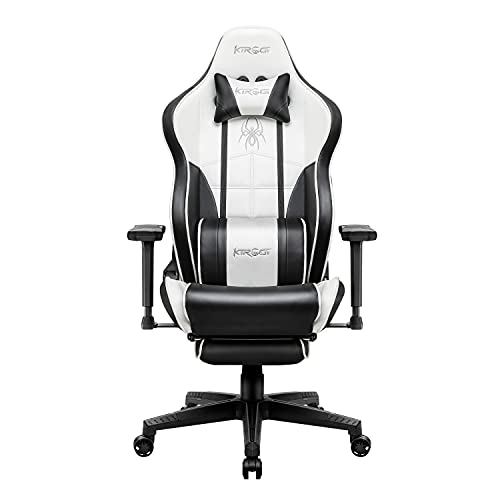 Kirogi Silla para videojuegos, silla de oficina ergonómica para PC, silla ajustable con reposapiés, silla para videojuegos, silla de escritorio grande y alta de fibra de carbono, color blanco