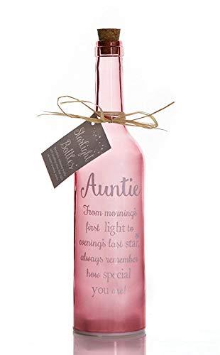 Boxer Gifts Botella de Cristal con luz LED para tía, diseño de Estrella, Ideal, Incluye Etiqueta de Regalo, Rosa, Normal