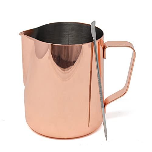 Dzbanek do spieniania mleka ze stali nierdzewnej z długopisem latte, dzbanek do kawy z wymiarami w uncji i ml, ostry dzbanek do spieniania mleka w kolorze różowego złota, 600 ml dzbanek na mleko do ekspresu do kawy, gorącej czekolady, espresso