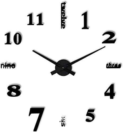HCYY Reloj de Pared Reloj de Pared con Adhesivo de Espejo 3D silencioso Moderno, Reloj Grande Grande sin Marco de Bricolaje, para Decoraciones Oficina en casa, decoración Negra para