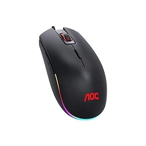AOC ゲーミングマウスGM500 (有線式/光学センサー/8ボタン/200-5000DPI/5,000万回クリック耐久/マクロ設定/ポーリングレート1000Hz/マウス加速度20g/約1680万色LEDライト/ソフトウェアメモリ/オンボードメモリ)