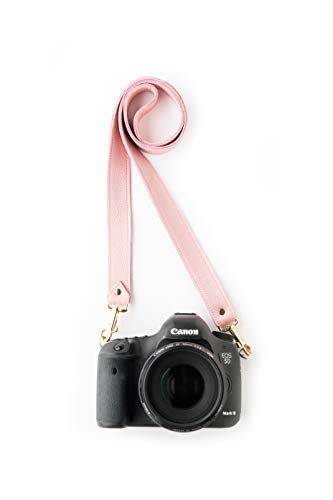 Rose Designer Fotostrap | Pink Genuine Leather Camera Shoulder Neck Strap | Quick Release | for Nikon, Canon, Sony, Pentax, Leica, Olympus DSLR, Mirrorless | Best Photographer Gifts | Gives Back