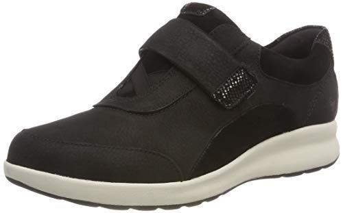 Clarks Un Adorn Lo, Zapatos de Cordones Derby Mujer, Negro (Black Combi), 41.5 EU