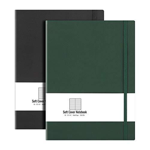 B5 College cuaderno rayado de tapa blanda (paquete de 2) – AHGXG cuaderno de composición grande 7.6 x 10 pulgadas con papel grueso de 100 g/m² forrado, total 408 páginas numeradas