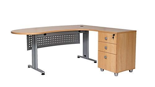 furni24 Schreibtisch Homeoffice Chefschreibtisch Schreibtisch Winkeltisch Gela buche Winkel rechts, Plattenspieler und Schublade Tisch