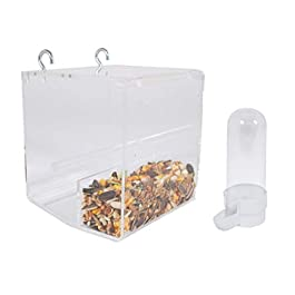 Kinekulle No Mess Bird Feeder Small for Cage with Hooks Comes with One Small Water/Feeder dispenser