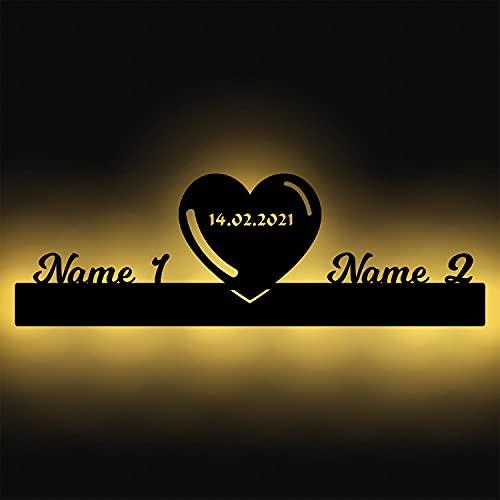 Dekolicht Name mit Herz Geschenke für Paare Led Namen Liebe Wand Licht personalisiert zum aufhängen I Batteriebetrieben