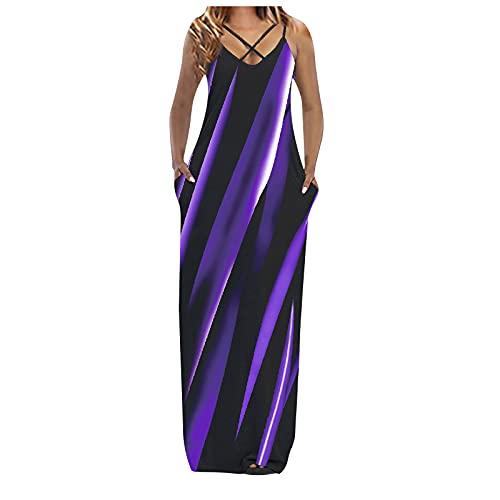 Sommerkleid Damen Lang Casual V-Ausschnitt Strandkleid Unregelmäßige Streifen Printed Cross Sling Kleid Casual und Bodenkleid Elegant Maxikleid A-Linie Abendkleider Partykleid