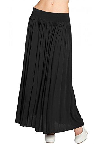 Caspar RO012 Leichter Langer Damen Sommerrock, Farbe:schwarz, Größe:One Size