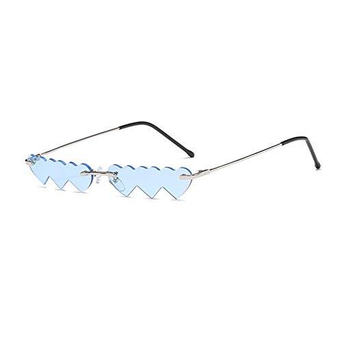Modische Sonnenbrillen Mode KleinerRahmen Punk Herz Randlose Sonnenbrille Für Frauen Rote Rose Einzigartige Herzform Brille Männer Vintage Blau