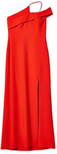BCBGMAXAZRIA Women's Asymmetrical Neck Long Evening Dress, Vibrant Orange, 6 (Apparel)