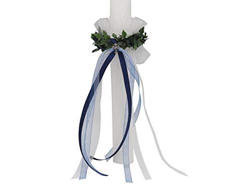 ZauberDeko Kerzenrock Blau Weiß Kommunion Kerze Kerzenring Kommunionkerze