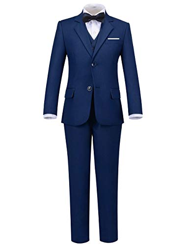 Addneo Boys Formal Suits Set for Kids Complete Outfit, Navy 5pc, 12