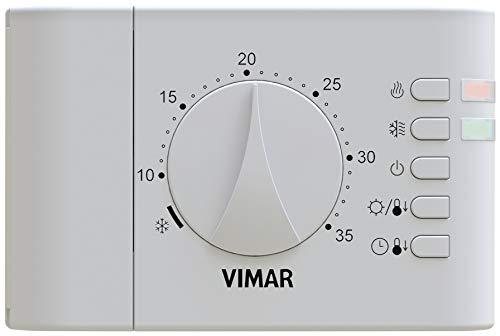 VIMAR 02900.1 Termostato Ambiente elettronico a Rotella, da Parete a Batteria, Bianco