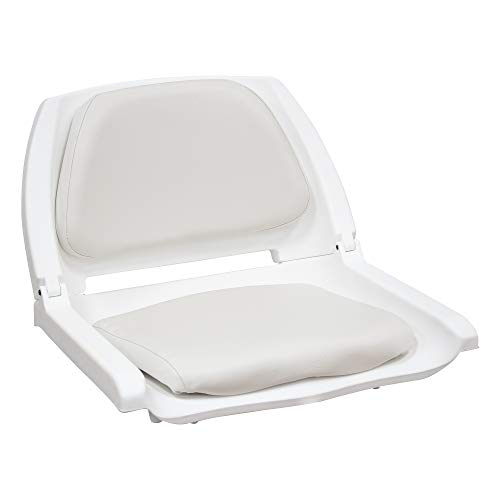 Wise 8WD139 Series Molded Fishing Boat Seat with Marine Grade Cushion Pads, White Shell, White Cushion -  8WD139LS-710