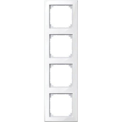 Merten 478419 M-Smart Cadre 4 Prises Blanc Polaire Brillant 2X M-Smart-Rahmen, 4fach Blanc Polaire