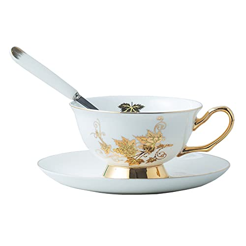ZCCLCH Tazas de café de la China de los Huesos, la Taza de la decoración del Espresso y el Conjunto del platillo, la Taza de café del Estilo Europeo, se fijó Taza de té, 7.03 oz con Agua de Oro Tazas