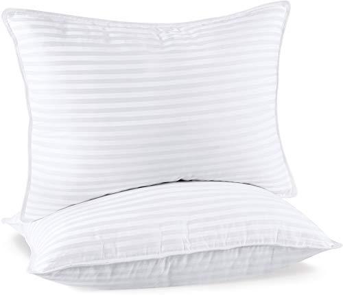 Utopia Bedding Cuscini Letto Premio (Set di 2) - 50 x 70 cm Guanciali Letto Coppia - Tessuto Misto Cotone con Fibra di Poliestere 3D (Bianco)