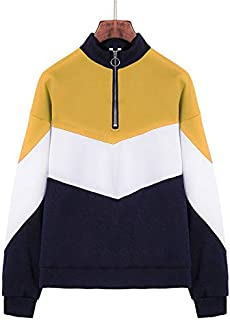 YXHM A Women's Blouse Color Matching Long-Sleeved Plus Velvet Sweater Women's Autumn and Winter New Coat (Color : Yellow, Size : XXL)