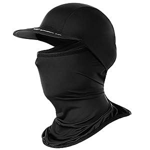 メンズ UVカット帽子 フェイスマスク 日焼け防止キャップ・ハット フェイスカバー ネックガード スポーツマフラー 冷感 日よけ止め レディース 自転車 釣り 夏用 HS011-Black