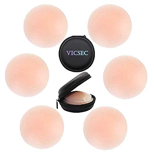 VicSec Pack de 3 Pares Pezoneras Reutilizables, Tapa de Pezones Silicona con Forma de Redonda y Flor Elegible Adhesiva Cubierta de Tetas Invisible (Pack de 3 Pares Redonda Pezoneras + Estuche)